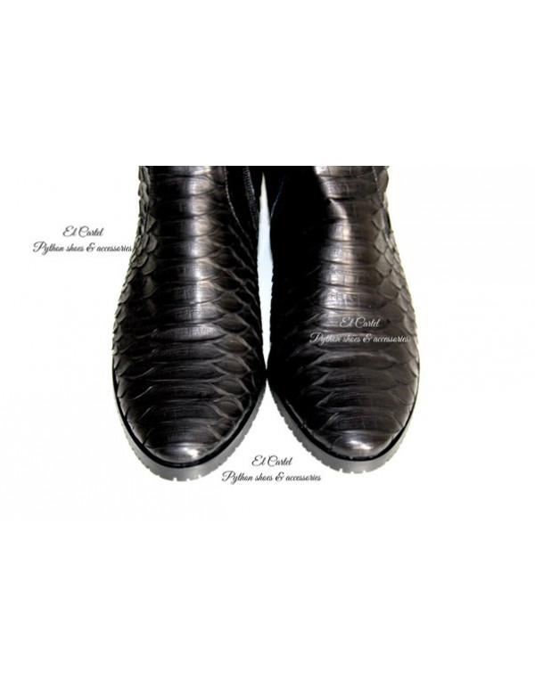 Сапоги-ботфорты из кожи питона