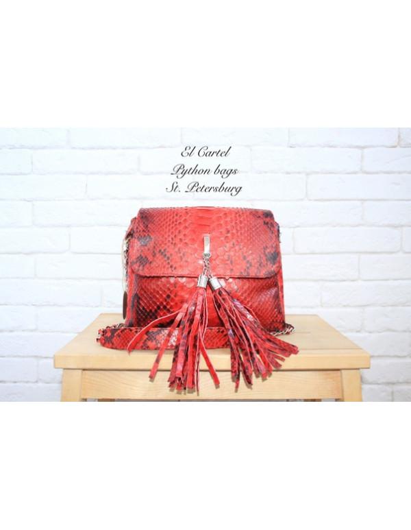 Сумочка с кисточками красная с принтом
